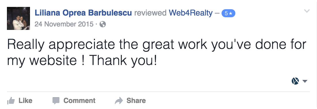Web4realty Facebook Review