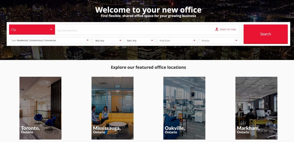 commercial real estate website design example